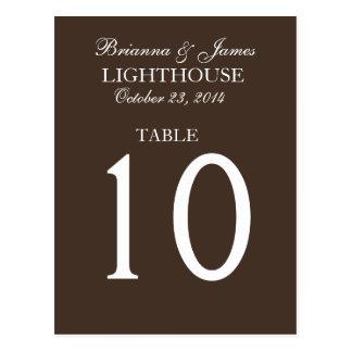 Elegant Chocolate White Wedding Table Number Card Postcard