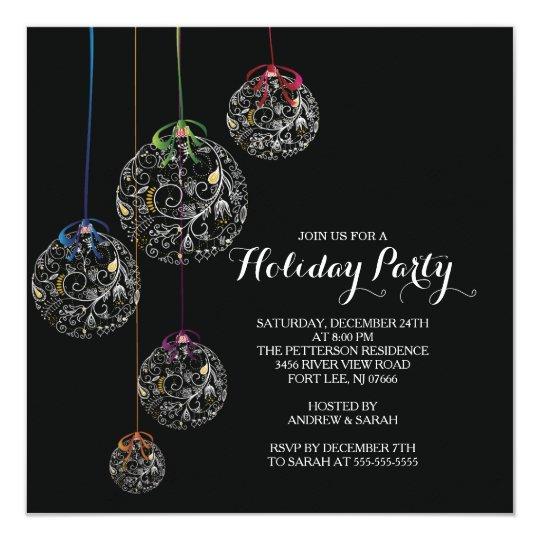 Elegant Christmas Ball Holiday Party Invitation