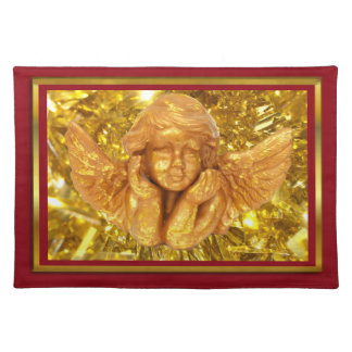 ELEGANT CHRISTMAS BEAUTIFUL GOLDEN ANGEL GIFTS PLACEMATS