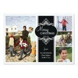 Elegant Christmas Black White Collage Photo Card 13 Cm X 18 Cm Invitation Card
