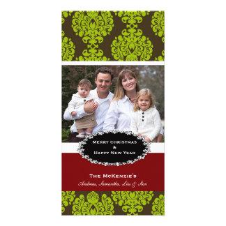 Elegant Christmas Brown Damask Card