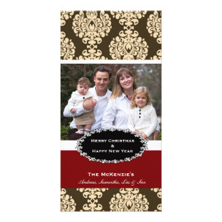 Elegant Christmas Brown Damask Customised Photo Card