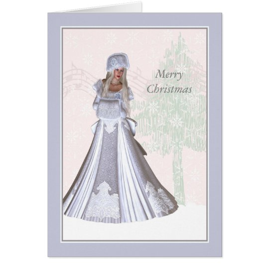 Elegant Christmas Card, Winter Lady Card