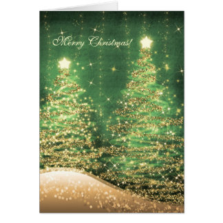 Elegant Christmas Cards Sparkling Trees Green