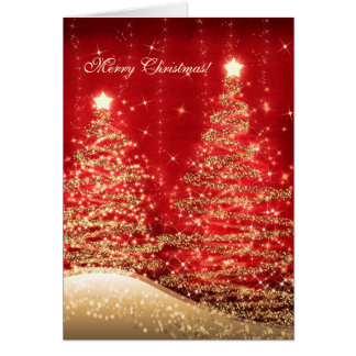 Elegant Christmas Cards Sparkling Trees Red