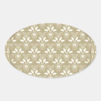 Elegant Christmas damask Oval Sticker
