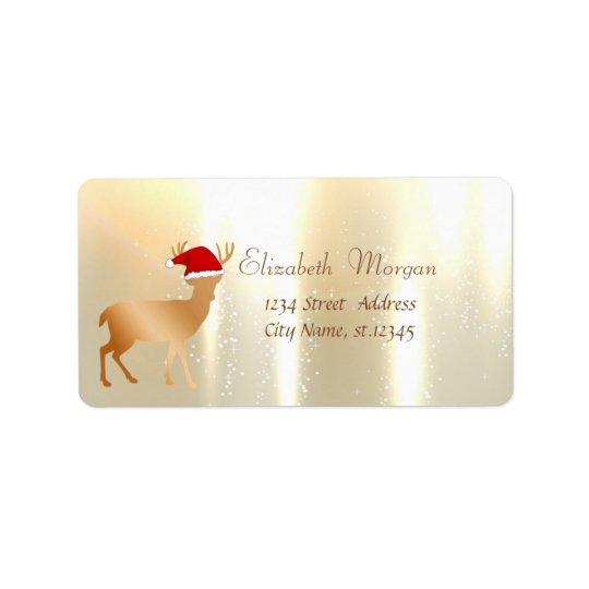 Elegant ,Christmas, Deer  With Santa Hat Address Label