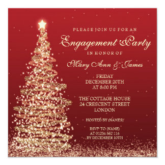 Elegant Christmas Engagement Party Red Gold Card