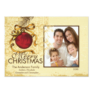Elegant Christmas Family Photo Holiday Card 13 Cm X 18 Cm Invitation Card
