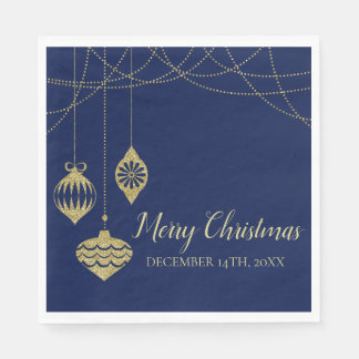 Elegant Christmas Faux Glitter Ornaments Gold Navy Disposable Napkins