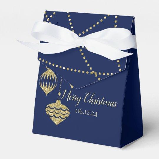 Elegant Christmas Faux Glitter Ornaments Gold Navy Favour