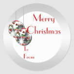 Elegant Christmas gift tag PERSONALIZE Round Sticker