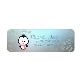 Elegant Christmas Glittery  Snowflakes, Penguin
