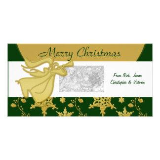 Elegant Christmas gold angel holiday greeting Personalised Photo Card