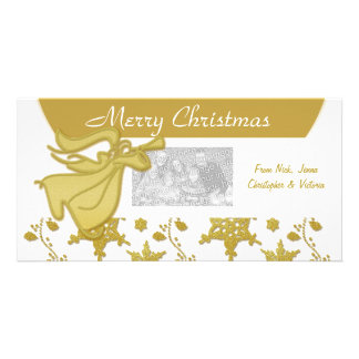 Elegant Christmas gold angel holiday greeting Photo Card Template