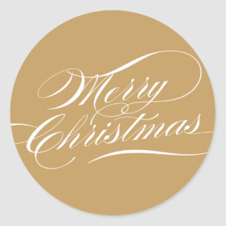 Elegant Christmas | Gold Round Sticker