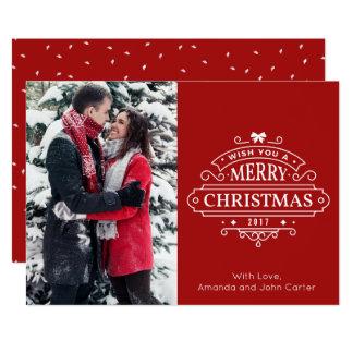 Elegant Christmas Greetings Vertical Photo Card