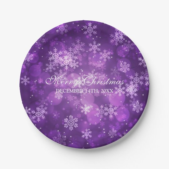 Elegant Christmas/ Holiday Sparkle Purple Paper Plate