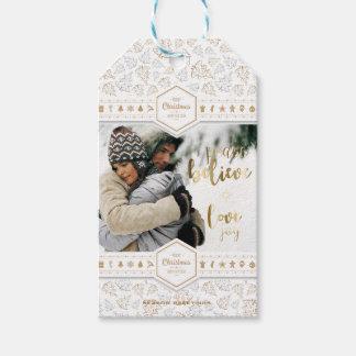 Elegant Christmas Love Photo Gift Tags