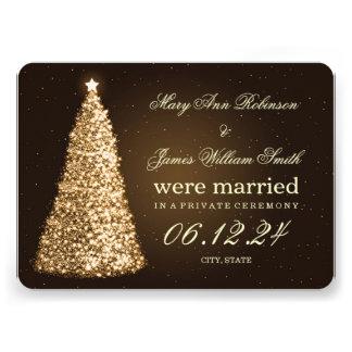 Elegant Christmas Marriage Elopement Gold Announcements