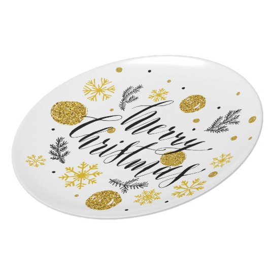 Elegant Christmas Melamine Plate With Gold Glitter