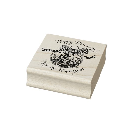 Elegant Christmas ornament rubber stamp
