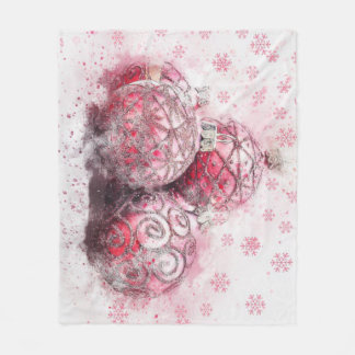Elegant Christmas Ornaments Fleece Blanket