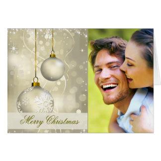 Elegant Christmas Ornaments with Custom Photo Greeting Card