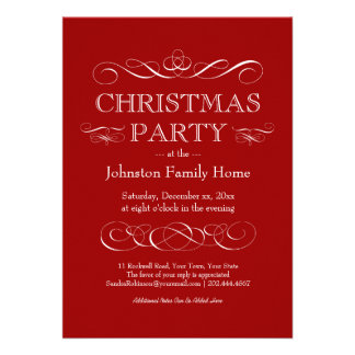 Elegant Christmas Party - Eat Drink and be Merry Custom Invitations