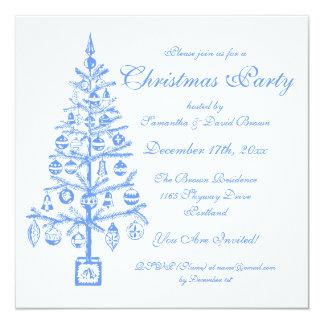 Elegant Christmas Party Festive Tree Blue Card