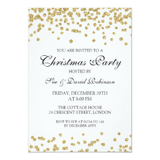 Elegant Christmas Party Gold Glitter Confetti Card
