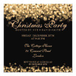 Elegant Christmas Party Gold Shimmering Lights 13 Cm X 13 Cm Square Invitation Card