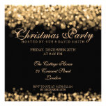 Elegant Christmas Party Gold Shimmering Lights Personalised Announcement