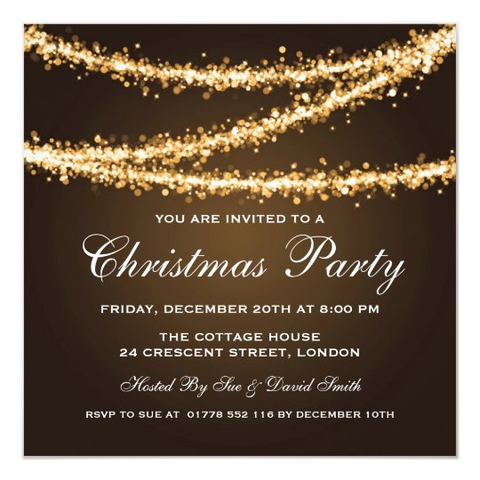 Elegant Christmas Party Gold String Lights Card