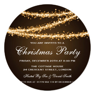 Elegant Christmas Party Gold String Lights Card