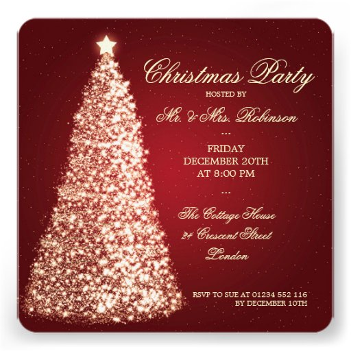 Elegant Christmas Party Gold Tree Red Custom Invitations