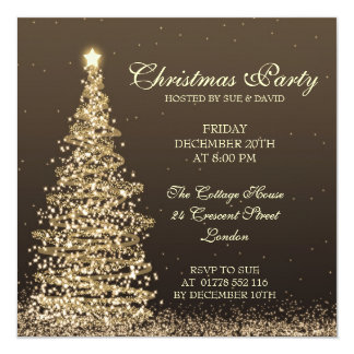 Elegant Christmas Party 5.25x5.25 Square Paper Invitation Card