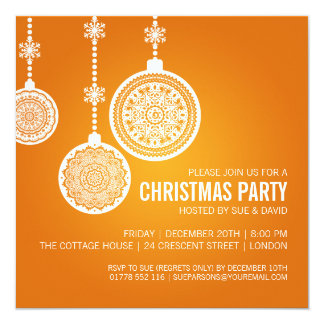 Elegant Christmas Party Ornaments Orange Card