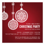 Elegant Christmas Party Ornaments Red 13 Cm X 13 Cm Square Invitation Card