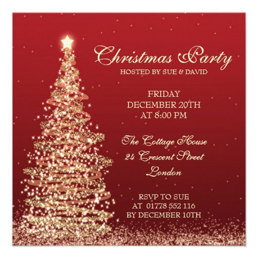 Elegant Christmas Party Red Custom Invitation