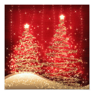 Elegant Christmas Party Sparkling Trees Red 13 Cm X 13 Cm Square Invitation Card