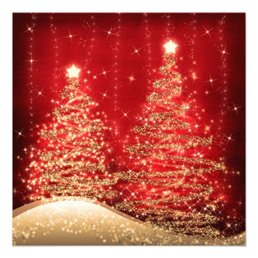 Elegant Christmas Party Sparkling Trees Red Custom Announcements