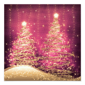 Elegant Christmas Party Sparkling Trees Rose Card
