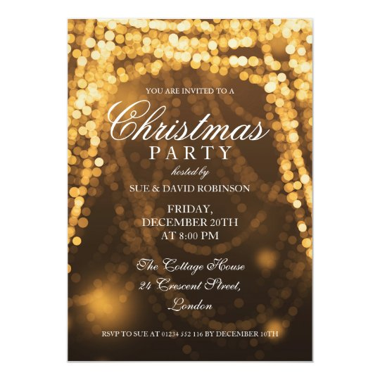 Elegant Christmas Party String Lights Gold Card