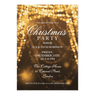 Elegant Christmas Party String Lights Gold 13 Cm X 18 Cm Invitation Card