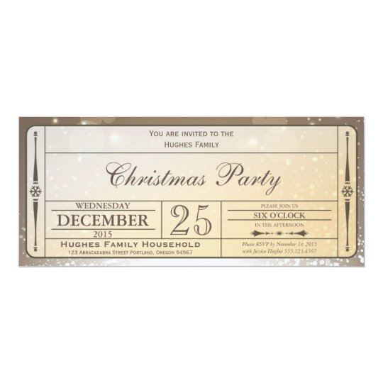 Elegant Christmas Party Ticket Invitation