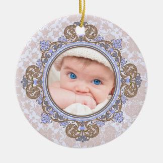 Elegant Christmas Personalized Photo Ornament Baby