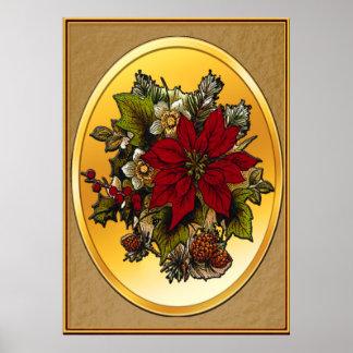 Elegant Christmas Poinsettia Poster Print