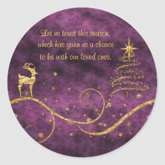 Elegant Christmas reindeer greetings wishes Classic Round Sticker
