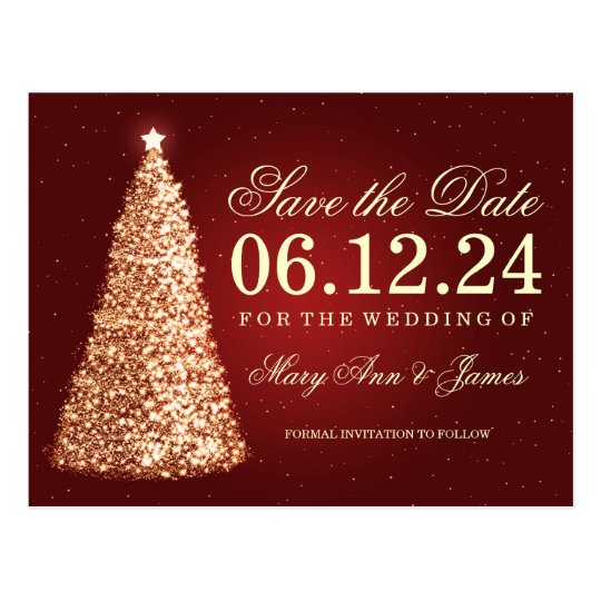 Elegant Christmas Save The Date Gold Red Postcard